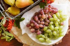 Λαχανικά φθινοπώρου, κολοκύθα, αχλάδι, σταφύλια, συγκομιδή στην ξύλινη ετικέττα Στοκ Εικόνα