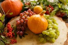 Λαχανικά φθινοπώρου, κολοκύθα, αχλάδι, σταφύλια, συγκομιδή στην ξύλινη ετικέττα Στοκ φωτογραφίες με δικαίωμα ελεύθερης χρήσης