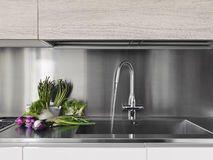 λαχανικά χάλυβα κουζινών worktop Στοκ Φωτογραφία
