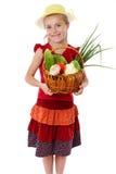 λαχανικά χαμόγελου κοριτσιών καλαθιών Στοκ εικόνες με δικαίωμα ελεύθερης χρήσης