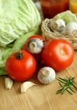 λαχανικά χαρτονιών ξύλινα Στοκ Εικόνες