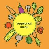 Λαχανικά χορτοφάγος καταλόγων επιλογής Πρότυπο λαχανικών επίσης corel σύρετε το διάνυσμα απεικόνισης Στοκ εικόνες με δικαίωμα ελεύθερης χρήσης