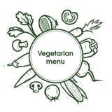 Λαχανικά χορτοφάγος καταλόγων επιλογής Πρότυπο λαχανικών επίσης corel σύρετε το διάνυσμα απεικόνισης Στοκ Φωτογραφίες