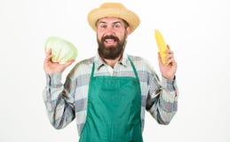 Λαχανικό λάχανων λαβής καπέλων αχύρου της Farmer corncob Φρέσκος οργανικός φυτικός κηπουρός Hipster συγκομιδών στη λαβή ποδιών στοκ εικόνες
