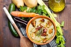 Λαχανικό σούπας στο κύπελλο και τα συστατικά Στοκ φωτογραφία με δικαίωμα ελεύθερης χρήσης