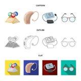 Λαχειοφόρος αγορά, ενίσχυση ακρόασης, tonometer, γυαλιά Καθορισμένα εικονίδια συλλογής μεγάλης ηλικίας στα κινούμενα σχέδια, περί Στοκ εικόνες με δικαίωμα ελεύθερης χρήσης