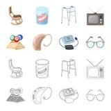 Λαχειοφόρος αγορά, ενίσχυση ακρόασης, tonometer, γυαλιά Καθορισμένα εικονίδια συλλογής μεγάλης ηλικίας στα κινούμενα σχέδια, διαν Στοκ Εικόνες