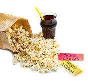 Λαϊκά εισιτήρια καλαμποκιού και κινηματογράφων Στοκ φωτογραφία με δικαίωμα ελεύθερης χρήσης