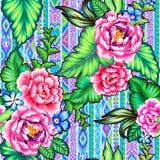Λαϊκά λουλούδια με το των Αζτέκων υπόβαθρο Στοκ Εικόνες