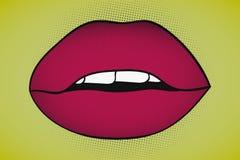 Λαϊκά προκλητικά σαγηνευτικά χείλια τέχνης με τα ορατά δόντια σε κίτρινο Στοκ Εικόνες