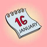 Λαϊκή απεικόνιση ράστερ τέχνης ημερολογιακού στις 16 Ιανουαρίου Στοκ φωτογραφίες με δικαίωμα ελεύθερης χρήσης
