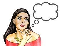 Λαϊκή απεικόνιση τέχνης συλλογισμένα της γυναίκας με τη λεκτική φυσαλίδα στοκ φωτογραφία