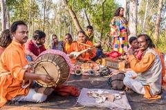 Λαϊκή απόδοση τραγουδιού σε Shantiniketan στοκ φωτογραφία με δικαίωμα ελεύθερης χρήσης