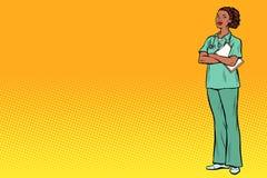 Λαϊκή αφρικανική νοσοκόμα τέχνης Ιατρική και υγεία ελεύθερη απεικόνιση δικαιώματος