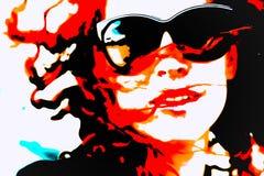 Λαϊκή γυναίκα τέχνης με τα γυαλιά Στοκ Εικόνες