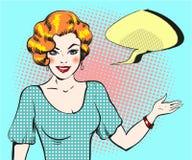 Λαϊκή γυναίκα τέχνης με τη λεκτική φυσαλίδα, γυναίκα ύφους καρφιτσών επάνω αναδρομική Στοκ εικόνες με δικαίωμα ελεύθερης χρήσης