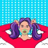Λαϊκή γυναίκα τέχνης με τις πλεξίδες και την τσίχλα απεικόνιση αποθεμάτων
