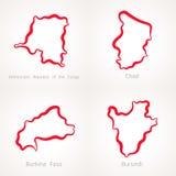 Λαϊκή Δημοκρατία του Κονγκό, του Chad, της Μπουρκίνα Φάσο και του Μπουρούντι - χάρτης περιλήψεων Στοκ εικόνες με δικαίωμα ελεύθερης χρήσης
