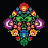 Λαϊκή κεντητική με τα λουλούδια - παραδοσιακό σχέδιο στιλβωτικής ουσίας στο μαύρο υπόβαθρο διανυσματική απεικόνιση