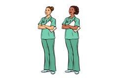Λαϊκή νοσοκόμα τέχνης καυκάσια και αφρικανικά Ιατρική και υγεία διανυσματική απεικόνιση