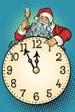 Λαϊκή τέχνη Άγιος Βασίλης, χρόνος Χριστουγέννων Εορτασμός CHAMPAGNE σε mi απεικόνιση αποθεμάτων