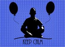 Λαϊκή τέχνη επίσης corel σύρετε το διάνυσμα απεικόνισης Άτομο meditates στη θέση λωτού Μύγα δύο μπαλονιών κοντά έπειτα troublesho Στοκ Εικόνα