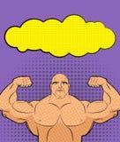 Λαϊκή τέχνη Bodybuilder με τη φυσαλίδα Διανυσματική απεικόνιση για το αναδρομικό γ απεικόνιση αποθεμάτων