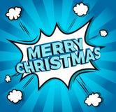Λαϊκή Χαρούμενα Χριστούγεννα εικονιδίων comics τέχνης Διανυσματική απεικόνιση λεκτικών φυσαλίδων Στοκ Φωτογραφία
