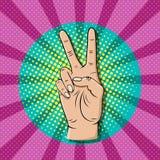 Λαϊκή χειρονομία σημαδιών νίκης τέχνης Στοκ Εικόνες