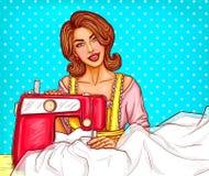 Λαϊκή seamstress μοδιστρών γυναικών τέχνης ή απεικόνιση σκίτσων υπονόμων στη ράβοντας μηχανή απεικόνιση αποθεμάτων