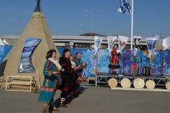 Λαϊκοί χοροί στο ολυμπιακό πάρκο στο Sochi Στοκ φωτογραφίες με δικαίωμα ελεύθερης χρήσης