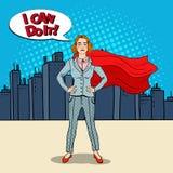 Λαϊκός έξοχος ήρωας επιχειρησιακών γυναικών τέχνης βέβαιος στο κοστούμι με το κόκκινο ακρωτήριο διανυσματική απεικόνιση
