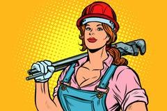 Λαϊκός μηχανικός υδραυλικών γυναικών τέχνης με το γαλλικό κλειδί ελεύθερη απεικόνιση δικαιώματος