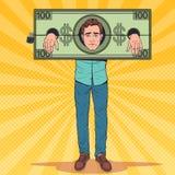 Λαϊκός τονισμένος τέχνη φυλακισμένος ατόμων των χρημάτων Κουρασμένος επιχειρηματίας στους δεσμούς δολαρίων απεικόνιση αποθεμάτων