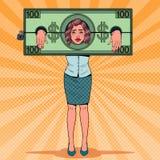 Λαϊκός τονισμένος τέχνη φυλακισμένος γυναικών των χρημάτων Κουρασμένη επιχειρησιακή γυναίκα στους δεσμούς δολαρίων απεικόνιση αποθεμάτων