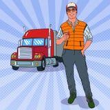 Λαϊκός χαμογελώντας Trucker τέχνης που στέκεται μπροστά από ένα φορτηγό Επαγγελματικός οδηγός απεικόνιση αποθεμάτων