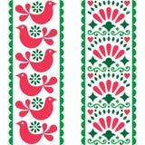 Λαϊκό άνευ ραφής σχέδιο τέχνης - μεξικάνικο σχέδιο λωρίδων ύφους μακροχρόνιο με τα πουλιά και τα λουλούδια στο ροζ και πράσινος ελεύθερη απεικόνιση δικαιώματος