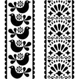 Λαϊκό άνευ ραφής σχέδιο τέχνης - μεξικάνικο σχέδιο λωρίδων ύφους μακροχρόνιο με τα πουλιά και τα λουλούδια σε γραπτό διανυσματική απεικόνιση