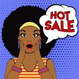 Λαϊκό έκπληκτο τέχνη πρόσωπο γυναικών afro φυσαλίδων πώλησης Στοκ Φωτογραφία