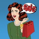 Λαϊκό έμβλημα πώλησης ύφους τέχνης αγορές της Sally κοριτσιών τσ&alp ελεύθερη απεικόνιση δικαιώματος