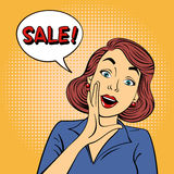 Λαϊκό έμβλημα πώλησης ύφους τέχνης Το εκλεκτής ποιότητας κορίτσι φωνάζει πώληση Στοκ φωτογραφία με δικαίωμα ελεύθερης χρήσης