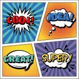 Λαϊκό έμβλημα τέχνης Ύφος Comics εκφράσεις που τίθενται φυσαλίδες που τίθενται Στοκ Εικόνες
