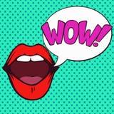 Λαϊκό ανοικτό στόμα τέχνης με τη φυσαλίδα καταπληκτικής επιτυχίας στοκ φωτογραφία