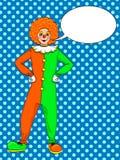 Λαϊκό διάνυσμα κλόουν τέχνης Θέατρο, τσίρκο, μια γυναίκα σε ένα jester κοστούμι Φυσαλίδα κειμένων γεωμετρικός παλαιός τρύγος εγγρ διανυσματική απεικόνιση