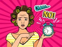 Λαϊκό κορίτσι τέχνης με το ρολόι απεικόνιση αποθεμάτων