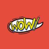 Λαϊκό λογότυπο τέχνης wow διανυσματική απεικόνιση