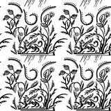 Λαϊκό σχέδιο με το griffin και τα χορτάρια Στοκ Εικόνες