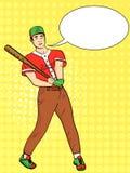 Λαϊκό υπόβαθρο τέχνης Ένα άτομο, ένας επαγγελματικός παίχτης του μπέιζμπολ, ένας αθλητής Χτυπά τη σφαίρα με ένα ρόπαλο διανυσματι απεικόνιση αποθεμάτων
