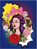λαϊκό ύφος τέχνης νέα όμορφη γυναίκα με το επιδόρπιο και το παγωτό ελεύθερη απεικόνιση δικαιώματος