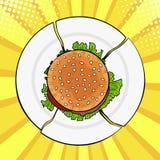 Λαϊκό Burger τέχνης στο σπασμένο πιάτο, βαρύ γρήγορο φαγητό διανυσματική απεικόνιση